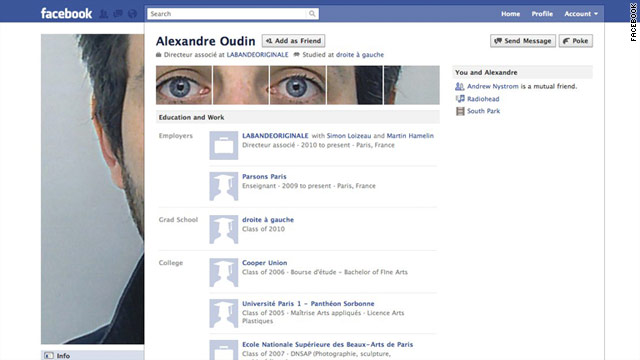 Alexandre Oudin of Paris is credited as a pioneer of this new type of Facebook profile art.