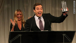 Jimmy Fallon presented Roger Ebert with the Person of the Year award Monday at the Webby Awards.