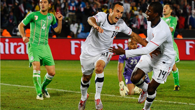 USA's Landon Donovan celebrates his game winning goal against Algeria, spiking Internet traffic.
