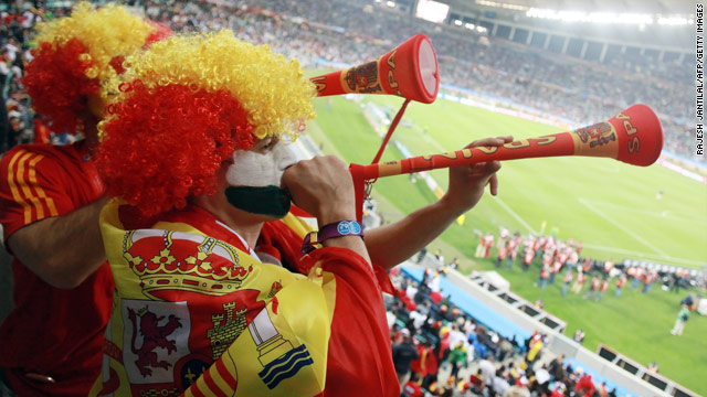 Spain fans will be blowing the vuvuzelas all the way to the World Cup final on July 11.