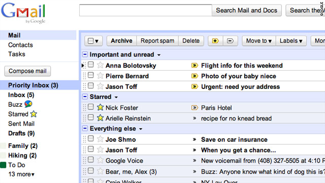 A new Gmail system will consider factors such as the sender's identity and key phrases to create each user's priority list.