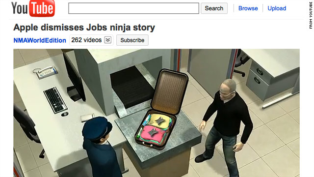 An animated video imagines the (presumably fictional) moment that Jobs' ninja stars are discovered.