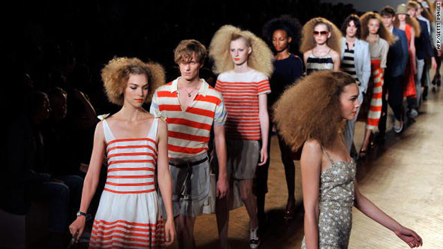 Models parade during the Marc Jacobs show at New York fashion week.