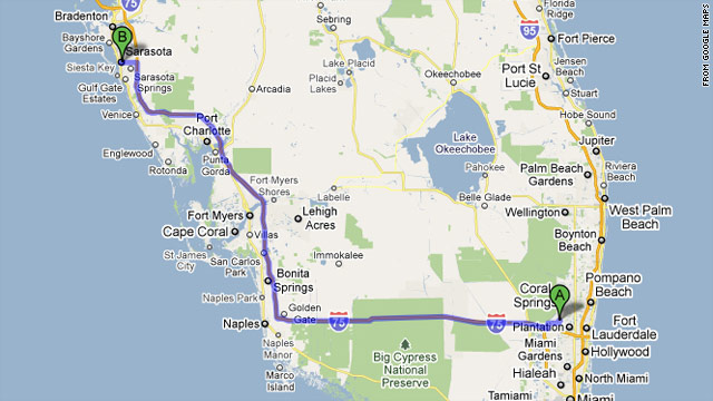 "Sunrise, Florida, the ""A"" on this Google Map, is about 200 miles from Sarasota, which lies on the Gulf Coast."