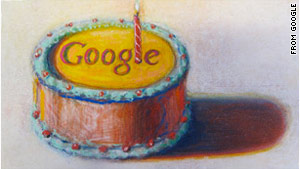 Google celebrated its 12th birthday Monday with a birthday cake doodle on its search page.