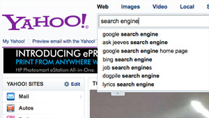 Besides making the search results easier to navigate, Yahoo also tries to help the users decide what to search.