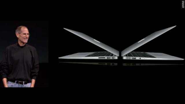 Apple CEO Steve Jobs unveils sleeker, lightweight MacBook Air laptops at an event Wednesday.