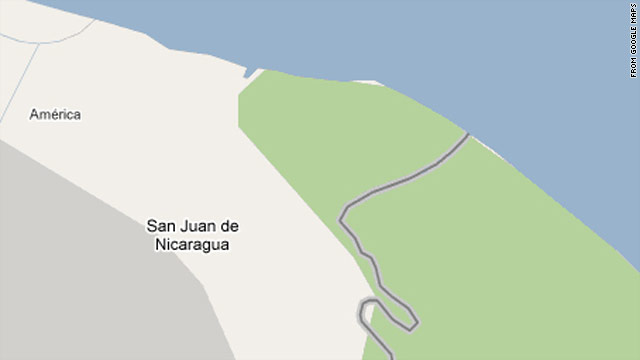 Google Maps has updated the border between Nicaragua and Costa Rica following a dispute. The old version of the map is shown here.