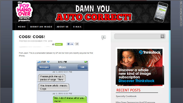 The new site Damn You Auto Correct! highlights amusing mistakes made by the iPhone's auto-correct feature.