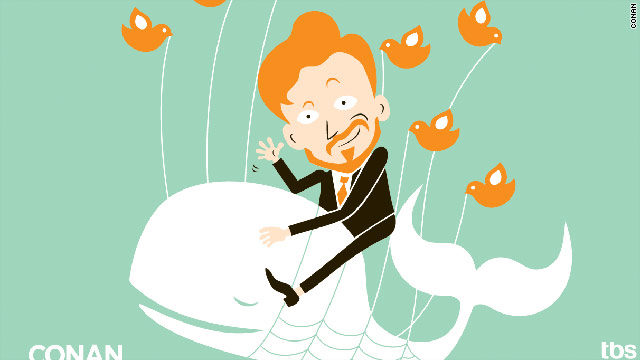 "The Conan O'Brien ""Pale Whale"" image spoofs the iconic Twitter image that appears when the site is down."