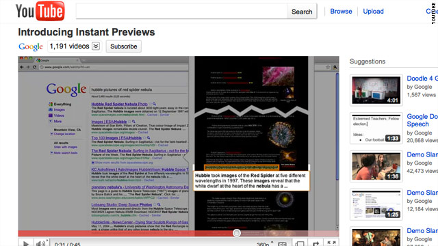 Instant Previews from Google shows search result pages and where the search term appears on the page.