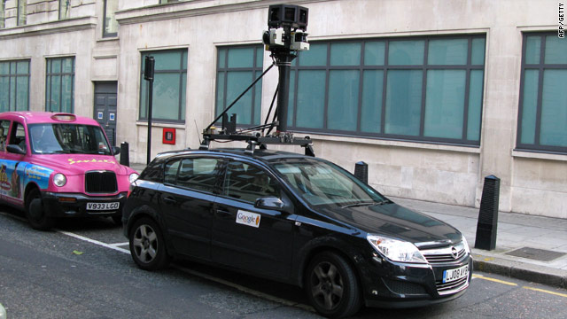 "A Google Street View car in London -- the company admitted its vehicles inadvertently captured so-called ""payload"" data."