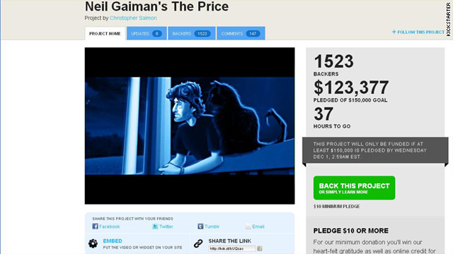 "A drive to fund an animated film of Neil Gaiman's story ""The Price"" is one of a growing number of six-figure efforts on Kickstarter."