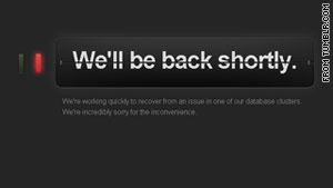 "Tumblr's ""back shortly"" message appeared for users for an entire day."