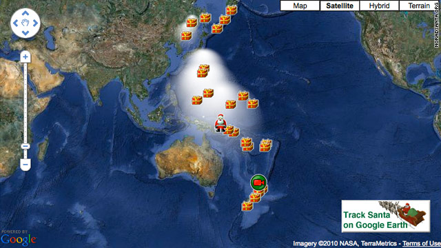 Log on to Noradsanta.org to view a special Google Map displaying Santa's whereabouts.