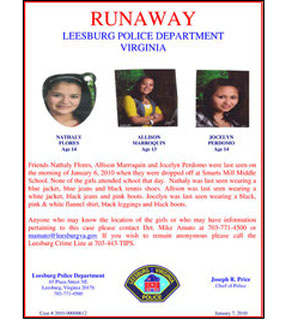 A flyer distributed by the Leesburg Police Department.
