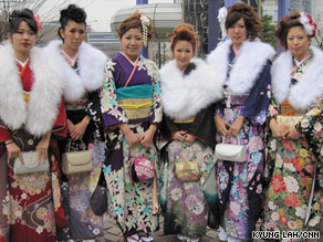 Young people celebrate Coming of Age Day in Tokyo.