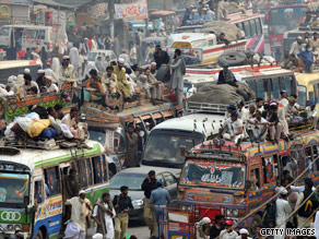 An example of the traffic chaos in Lahore, Pakistan.
