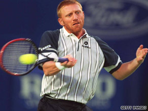 Boris Becker on the court in 1996 at the Australian Open.