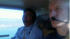 Anderson on board a United Nations chopper heading into Haiti.