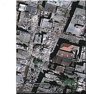 Buildings were reduced to rubble and their inhabitants trapped in the debris.