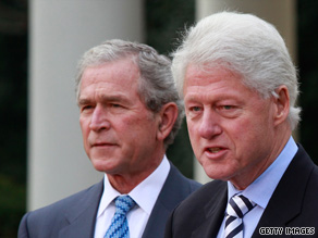 Former President Clinton was joined by former President George W. Bush at the White House Saturday, the same day that the DNC launched an automated phone call where Clinton criticizes Bush's economic policies.