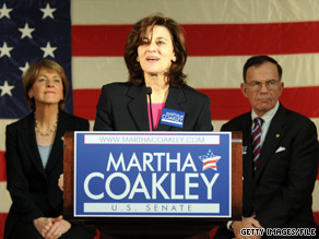 Vicki Kennedy joined Massachusetts Attorney General Martha Coakley to shake the hands of voters in Boston Saturday.