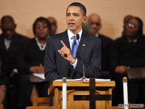 President Obama spoke at the Vermont Avenue Baptist Church on Sunday.