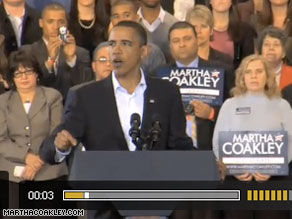 President Obama appears in a new ad for Martha Coakley released Monday.