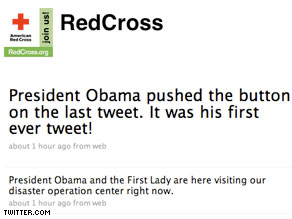 Digital history was made Monday when President Obama became the first commander-in-chief to 'tweet' a message.
