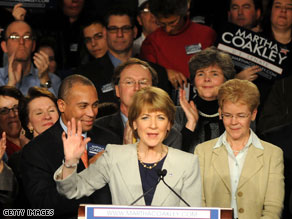 A &#039;heartbroken&#039; Martha Coakley congratulated her Republican opponent Tuesday on his upset victory over her to fill the U.S. Senate seat held for decades by liberal Democrat Ted Kennedy.