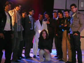 With TV's 'Afghan Star' contestants in December 2008 (no headscarf)
