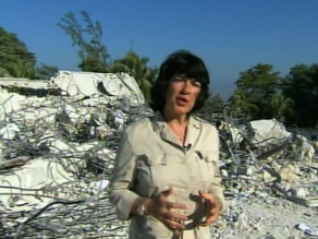 Christiane at the rubble of the U.N.'s  Headquarters in Haiti