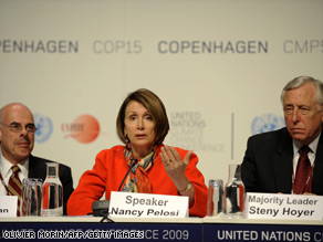 House Speaker Pelosi attends a press conference at the Copenhagen Climate Summit.