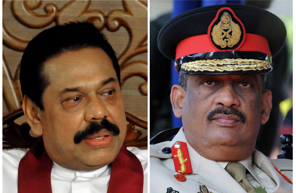 Left:  Sri Lankan President Mahinda Rajapakse during a  meeting at his office on May 18, 2009 Right: Then-Army Commander Lt. General Sarath  Fonseka during a ceremony on November 9, 2008.
