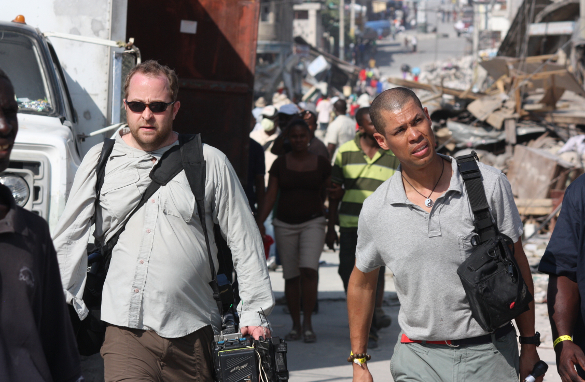 CNN cameraman Neil Hallsworth and Vladimir Duthiers