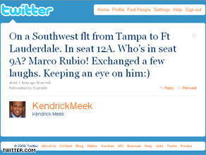 Kendrick Meek tweets about running into Marco Rubio.