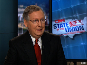 Senate Minority Leader Mitch McConnell took issue Sunday with many of the Obama administration's policies relating to treatment of alleged terrorists.
