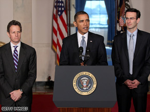 Pres. Obama, flanked by Treasury Sec. Timothy Geithner (L) and White House budget director Peter Orszag, speaks about his proposed $3.8 trillion budget for fiscal year 2011.