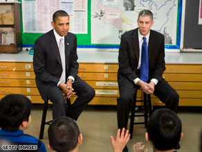 President Obama and Arne Duncan visited with sixth grade students last week.