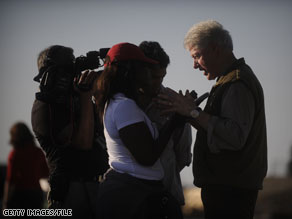 Former President Bill Clinton holds a press conference in January at the airport in Port-Au-Prince.