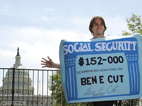 A man dressed as a Social Security card demonstrates in front of the Capitol Building.