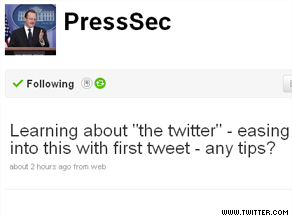 In his first tweet, White House Press Secretary sought advice from the Twitterverse.