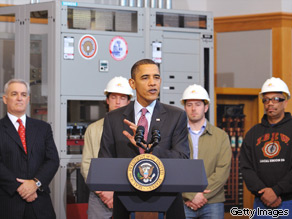 President Obama speaks during a visit to an IBEW training facility in Lanham, Maryland, on Tuesday.