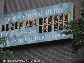 FILE PHOTO: A shot of the National Debt Clock on July 13, 2009.