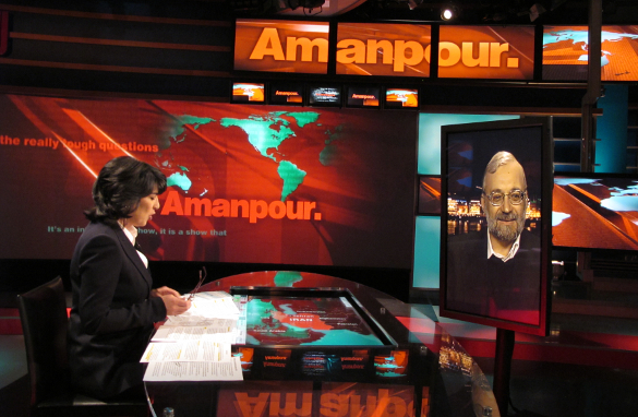 The Secretary General of Iran's High Council for Human Rights, Mohammad Javad Larijani, on the AMANPOUR. set