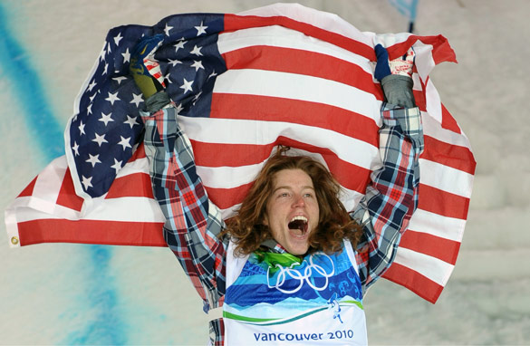 Shaun White&#039;s gold on the half pipe was part of an American medal rush Wednesday (Adrian Dennis/AFP/Getty Images).