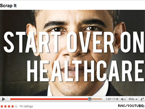 The Republican National Committee released a new Web ad Wednesday telling President Obama to start over on health care reform.