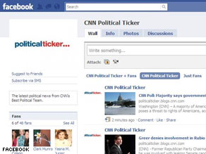 The CNN Political Ticker's new Facebook fan page.