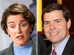 Arkansas Lt. Gov. Bill Halter (right) announced he will launch a primary challenge to Sen. Blanche Lincoln (left).
